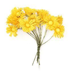 Buchet de floarea soarelui 20x80 mm galben închis -12 bucăți