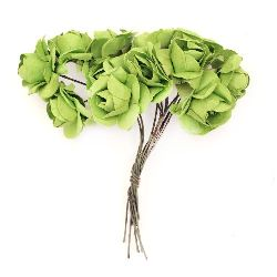 Bouquet of paper Roses with wire stems for decoration 20x80 mm green - 12 pieces