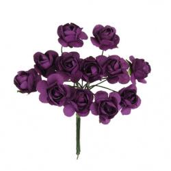 Роза букет хартия и тел 20 мм тъмно виолетово -12 броя