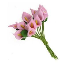 EVA foam potassium bouquet with leaves for art decoration, festive cards, candle embellishment 16x30 mm pink - 12 pieces