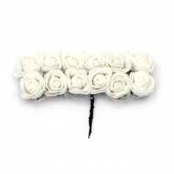EVA foam and organza Rose bouquet 25x80 mm with wire stems,  white - 12 pieces