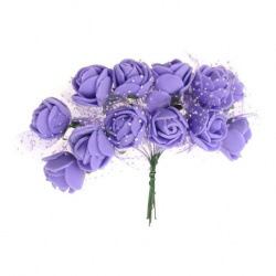 EVA foam and organza Rose bouquet 25x80 mm with wire stems,  purple - 12 pieces