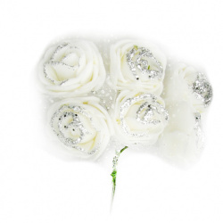 EVA Foam and organza Rose bouquet,  glitter 25x85 mm with wire stems, white - 6 pieces