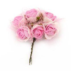 Buchet trandafir 25x85 mm organza cauciucat și brocart roz alb -6 bucăți