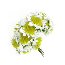 Bouquet of paper  Roses with wire stems for decoration 35 mm white with yellow - 12 pieces