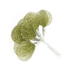 Organza flower round 40 mm gold - 12 pieces