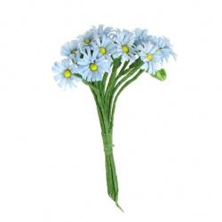 Маргаритка букет хартия и тел синя светло -12 броя