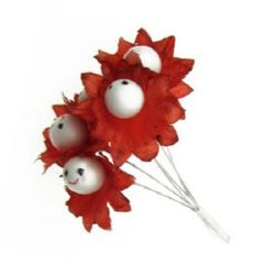 Red flower bouquet 30 mm paper and wire, with smiling face - 6 pieces