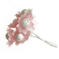 Buchet de flori din hârtie de 30 mm și sârmă zambet roz -5 bucăți