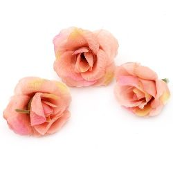 Flower rose 40 mm with stump for installation light pink -10 pieces