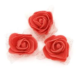 Rose from EVA foam and organza for home and party decoration 35 mm red - 10 pieces