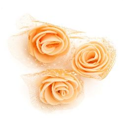 Rose color 35 mm rubber organza orange - 10 pieces