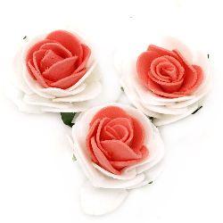 Τριαντάφυλλα 40x25 mm λευκό/κόκκινο -10 τεμάχια