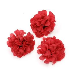 Carnation flower 45 mm with stump for mounting, accessories making, red - 10 pieces