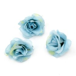 Цвят роза 40 мм с пънче за монтаж синя - 10 броя
