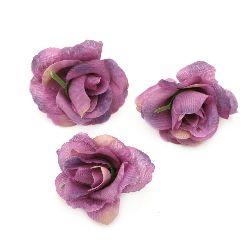 Цвят роза 40 мм с пънче за монтаж лилава - 10 броя