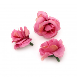 Flower rose 40 mm with stump for installation pink purple - 10 pieces