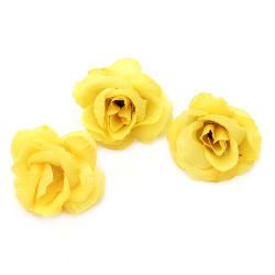 Flower rose 40 mm with stump for installation yellow - 10 pieces