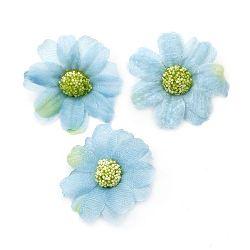 Цвят маргаритка 45 мм с пънче за монтаж синя - 10 броя