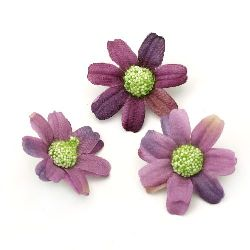 Flower daisy 45 mm with stump for installation purple - 10 pieces