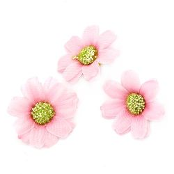 Flower daisy 45 mm with a stump for mounting, light pink - 10 pieces