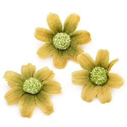 Flower daisy 45 mm with stump for installation yellow - 10 pieces