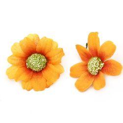 Цвят маргаритка 45 мм с пънче за монтаж оранжева - 10 броя