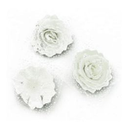 Цвят роза 65 мм гума органза брокат бяла
