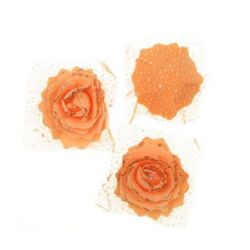 Artificial EVA foam Rose with organza and glitter, orange for DIY wedding decoration