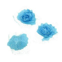 Artificial glitter EVA foam Rose with organza 65 mm blue, for wedding decoration