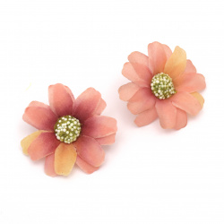 Flower daisy 45 mm with stump for installation pink overflow - 10 pieces