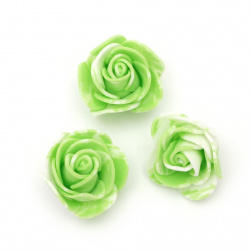 Rose color 35 mm rubber color white green - 10 pieces
