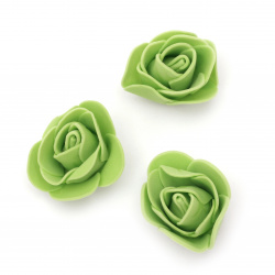 Rose color 35 mm rubber color green -10 pieces