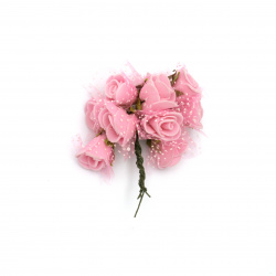 Rose bouquet 20x90 mm rubber and organza pink -10 pieces