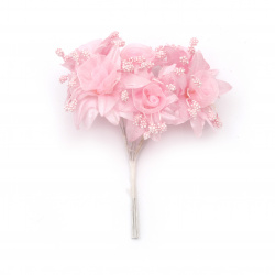 Artificial flower bouquet from textile and organza with stamens 45x100 mm color pink - 6 pieces