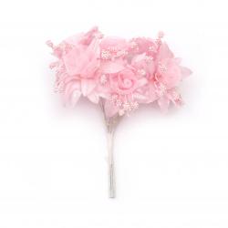 Цвете букет текстил и органза 45x100 мм цвят розов -6 броя