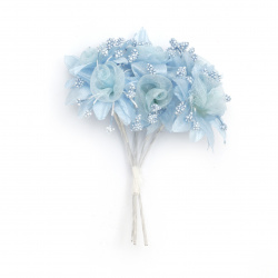 Buchet de flori textile și organza 45x100 mm culoare albastru -6 bucăți