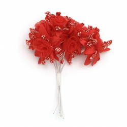 Artificial flower bouquet from textile and organza with stamens for art projects 45x100 mm color red - 6 pieces