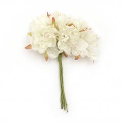 Buchet de flori textile ș organza 50x120 mm stamină culoare șampanie -6 bucăți