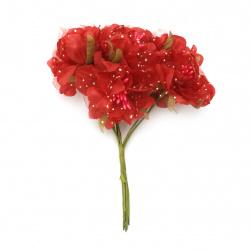 Buchet de flori textile și organza 50x120 mm stamine culoare roșu -6 bucăți