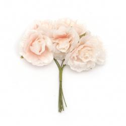 Роза букет текстил 40x100 мм цвят розов светло -6 броя