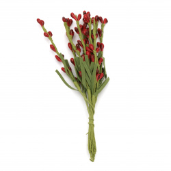 Bouquet twig with buds gum leaves 160 mm color red -9 pieces