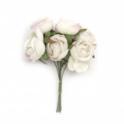 Artificial flower bouquet from textile for handmade hobby projects 40x100 mm color white - 6 pieces