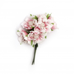 Artificial flower bouquet from textile with stamens and pearls  for embellishment of festive cards, invitations, boxes 40x100 mm color white pink - 6 pieces