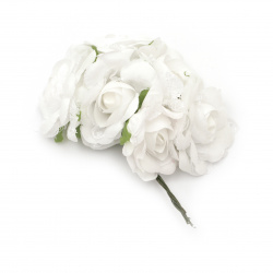 Rose bouquet of textiles and lace for wedding, prom decoration 70x150 mm color white - 6 pieces