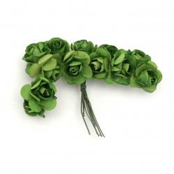 Роза букет хартия и тел 20 мм зелено тъмно -12 броя