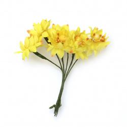 Λουλούδια κίτρινα 35x110 mm από ύφασμα -6 τεμάχια ανά ματσάκι