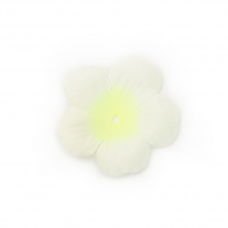 Fabric Flower 55x55 mm for decoration color white with electric yellow  - 5 grams ~30 pieces