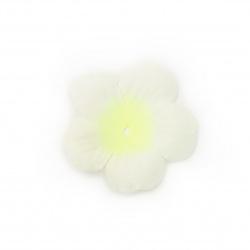 Цвете текстил 55x55 мм за декорация цвят бял с жълт електрик - 5 грама ± 30 броя
