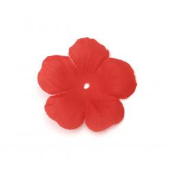 Цвете текстил 55x55 мм за декорация цвят червен - 5 грама ~ 30 броя